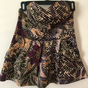 Tropical Print Strapless Anthropologie Blouse